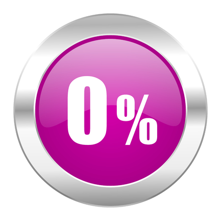 0 percent violet circle chrome web icon isolated photo