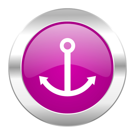 anchor violet circle chrome web icon isolated photo