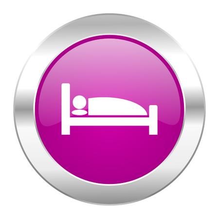 hotel violet circle chrome web icon isolated photo