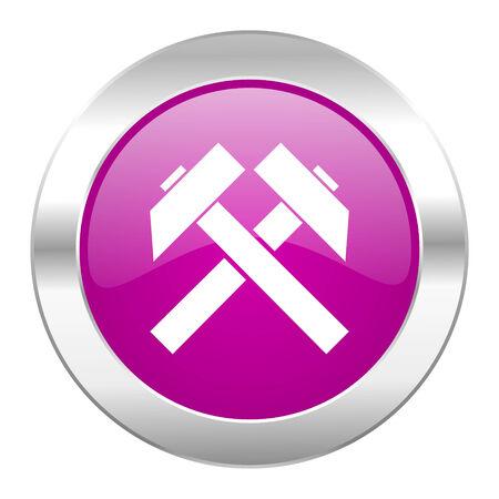 mining violet circle chrome web icon isolated