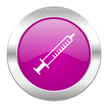 medicine violet circle chrome web icon isolated photo