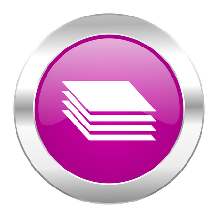 layers violet circle chrome web icon isolated Stock Photo