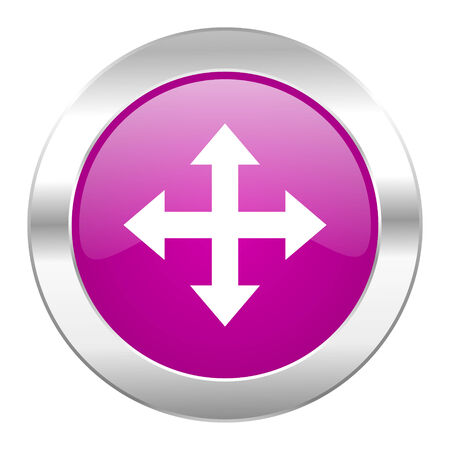 sterring: arrow violet circle chrome web icon isolated
