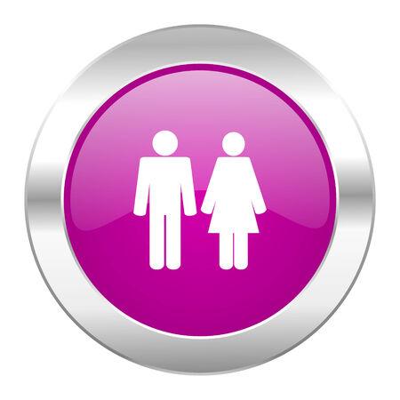 chrome man: couple violet circle chrome web icon isolated Stock Photo