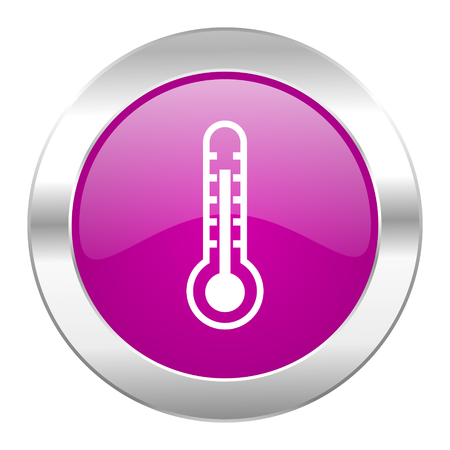 thermometer violet circle chrome web icon isolated photo