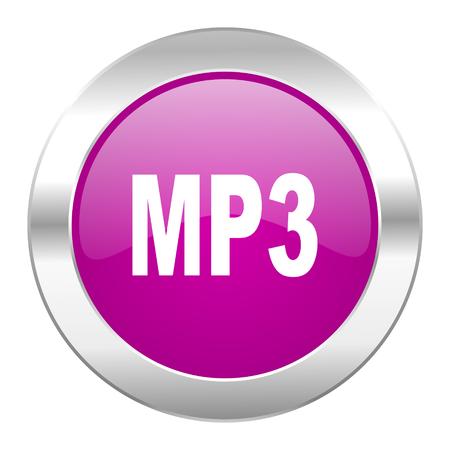 mp3 violet circle chrome web icon isolated photo