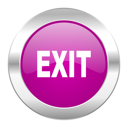 exit violet circle chrome web icon isolated photo