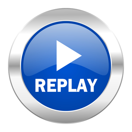 replay blue circle chrome web icon isolated photo