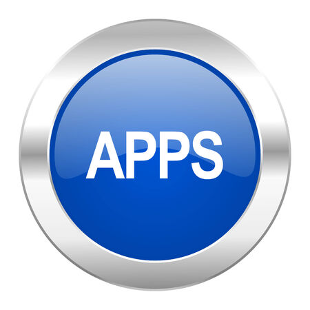 apps blue circle chrome web icon isolated Stock Photo