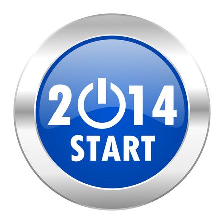 year 2014 blue circle chrome web icon isolated photo