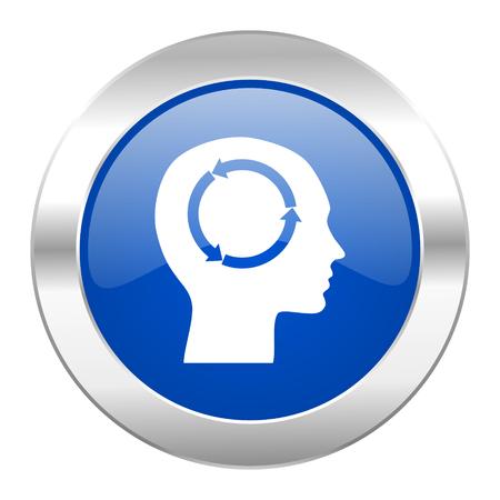 keen: head blue circle chrome web icon isolated