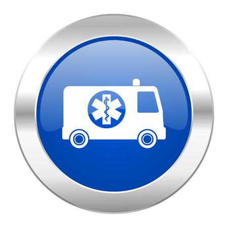 ambulance blue circle chrome web icon isolated photo