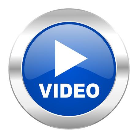 video blue circle chrome web icon isolated photo