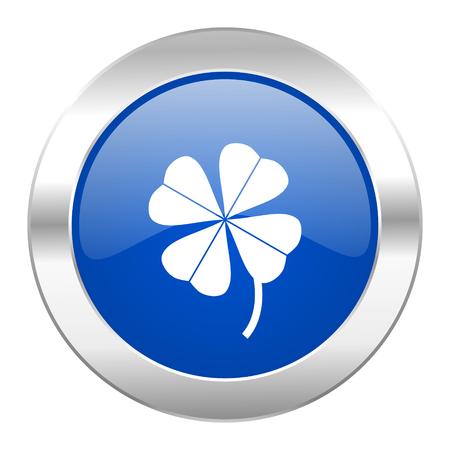 fourleaf: four-leaf clover blue circle chrome web icon isolated