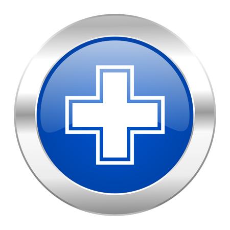 pharmacy blue circle chrome web icon isolated photo
