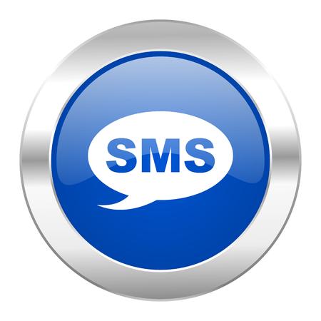 sms blue circle chrome web icon isolated photo