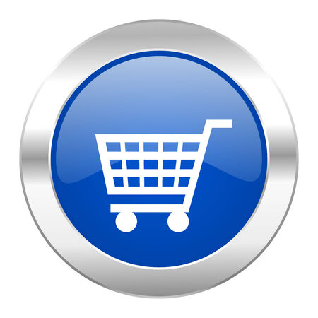 chrome cart: cart blue circle chrome web icon isolated