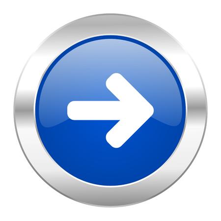 right arrow blue circle chrome web icon isolated photo