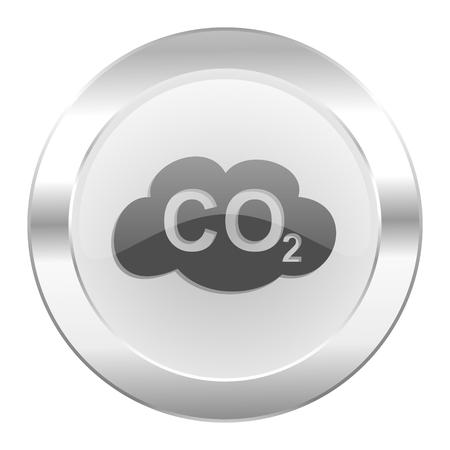 dioxide: carbon dioxide chrome web icon isolated