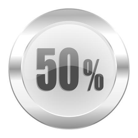 50 percent chrome web icon isolated photo