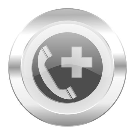 emergency call chrome web icon isolated photo