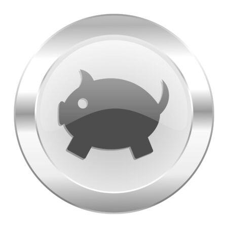 piggy bank chrome web icon isolated photo