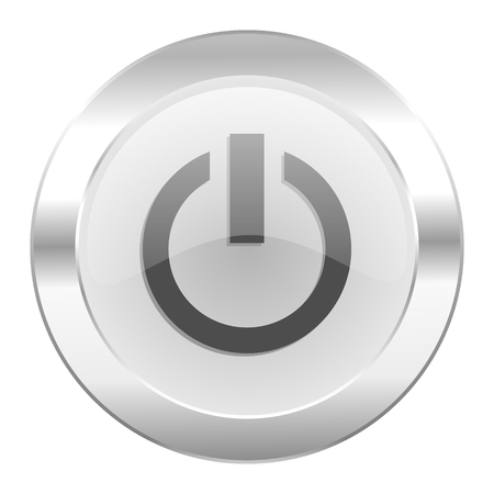 run off: power chrome web icon isolated Stock Photo