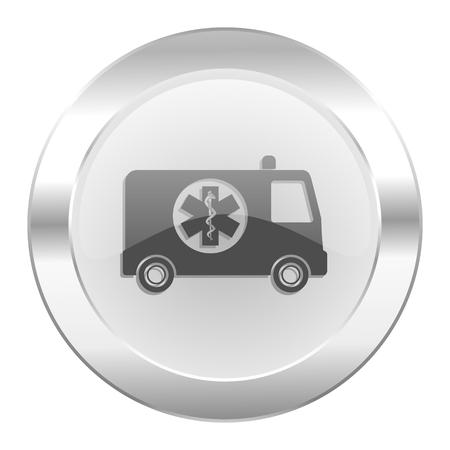 ambulance chrome web icon isolated photo