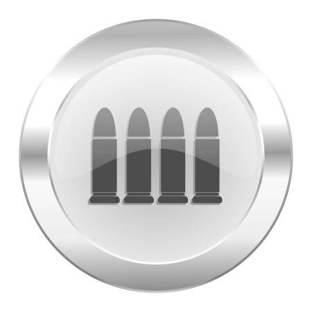 ammunition chrome web icon isolated photo