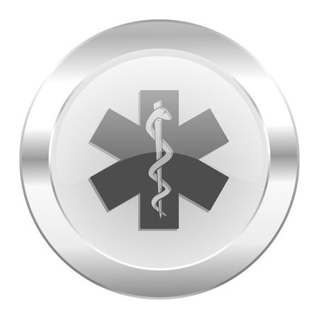 emergency chrome web icon isolated photo