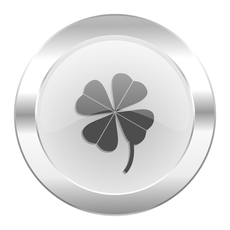 four-leaf clover chrome web icon isolated photo