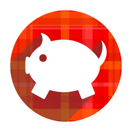 piggy bank red flat icon isolated photo