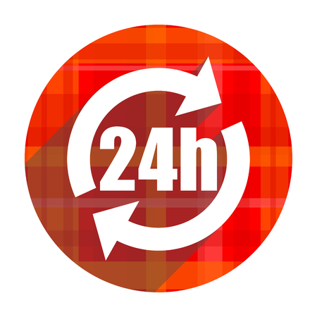 24h red flat icon isolated photo