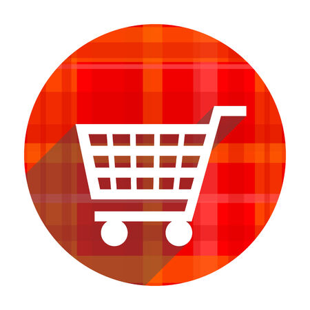 cart red flat icon isolated photo