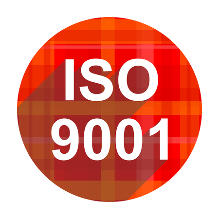 iso 9001 red flat icon isolated photo