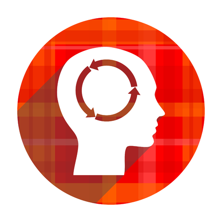 keen: head red flat icon isolated