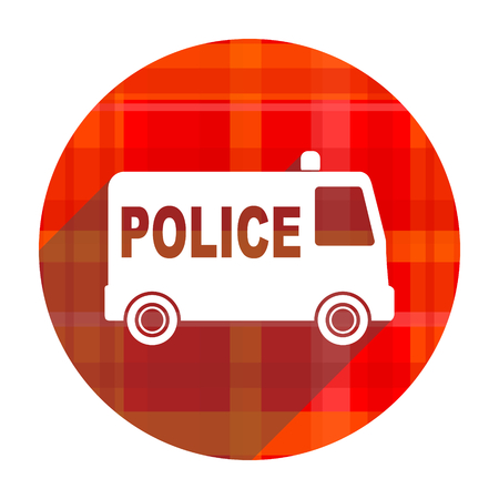 police red flat icon isolated photo