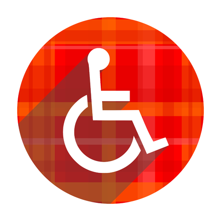 wheelchair red flat icon isolated photo