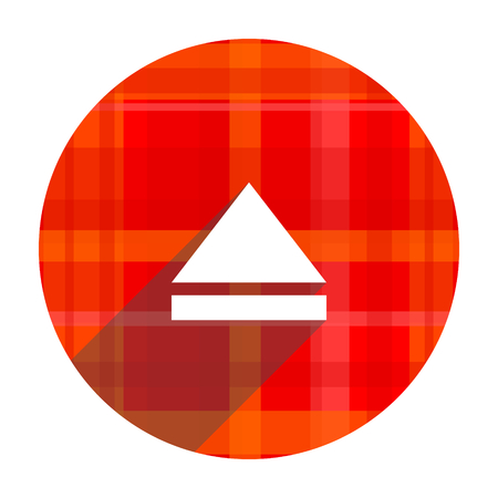eject: eject red flat icon isolated
