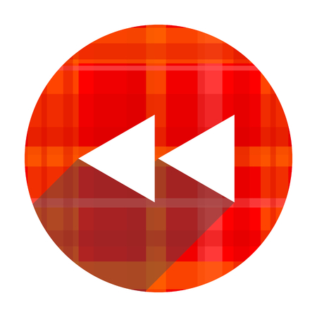 rewind red flat icon isolated photo
