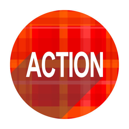 action red flat icon isolated photo