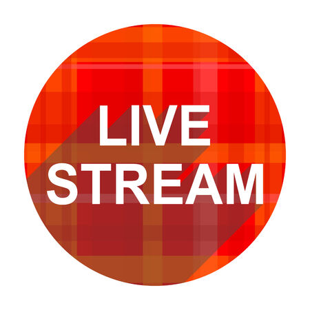 news cast: live stream red flat icon isolated