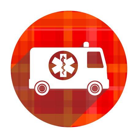 ambulance red flat icon isolated photo
