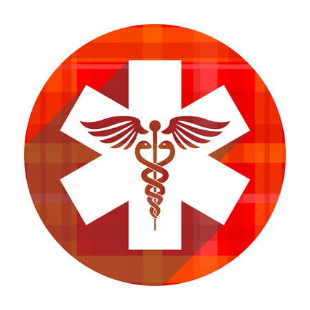 emergency red flat icon isolated photo