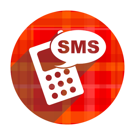 sms red flat icon isolated photo
