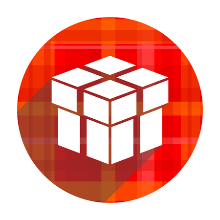 box red flat icon isolated photo