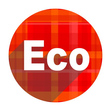 eco red flat icon isolated photo