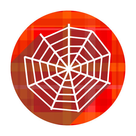 spider web red flat icon isolated