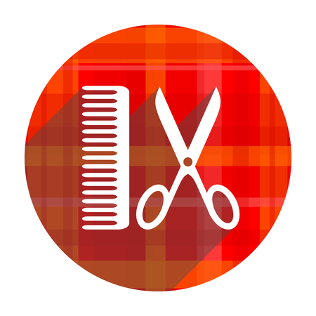 barber: barber red flat icon isolated