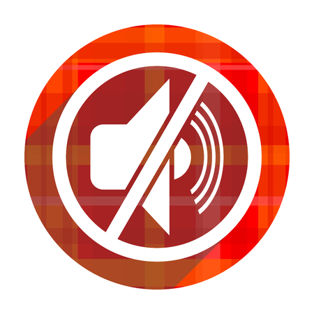 mute red flat icon isolated